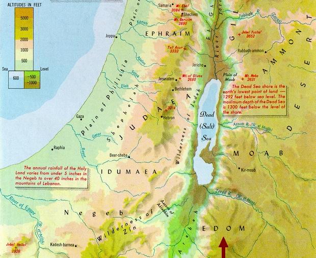 Edom országa, a Holt-tengertől délkeletre a hegyvidéken