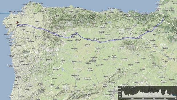 Hegyen-völgyön Santiago felé