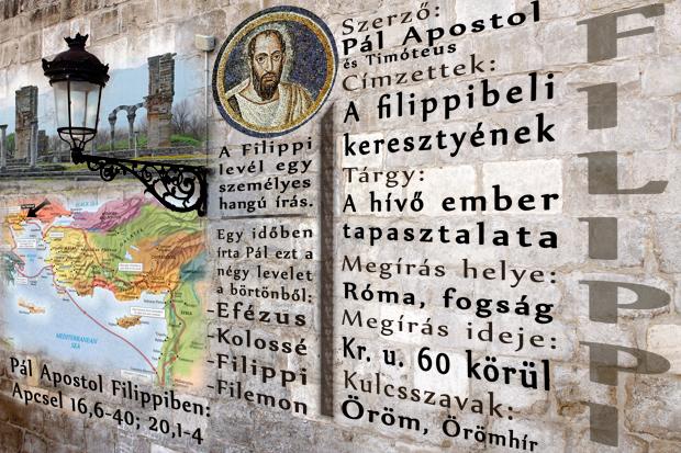 Pál Apolstol levele a filippibeliekhez. Filippi városában volt az első európai gyülekezet. A Filippi levél nem tartalmaz intést, leírja azonban a Krisztusban való teljes életet, melynek alapja a krisztusi indulat. Aki megalázza magát, felmagasztaltatik!