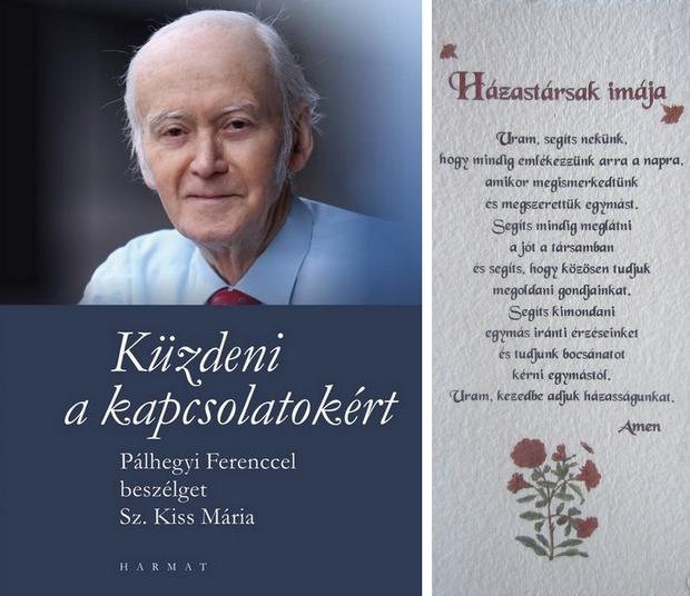 A könyvet a Harmat Kiadó adta ki; A kép jobb oldalán a házastársak imája olvasható