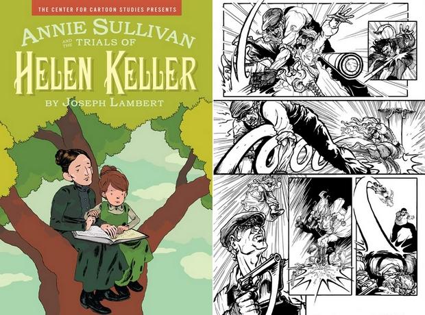 Helen Keller tanítójával (balra). Az Arcana Comics által kiadott képregények Helen Kellert szuperhősként ábrázolják (jobbra).