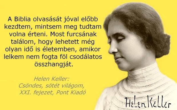 A kép jobb alsó sarkában Helen Keller aláírása látható