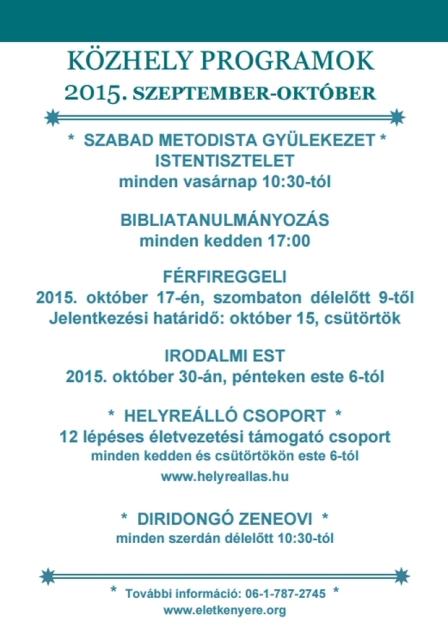 A Közhely 2015. őszi programjai