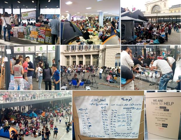 Ruházat-, élelmiszer-, és vízosztás, valamint a mindennapi élet a Keleti pályaudvar tranzitzónájában.